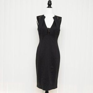 Tahari Black Sheath Dress with Satin Detail